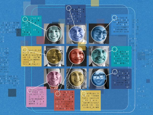 Illustration of a grid of different faces with graphic lines and circles and random text.