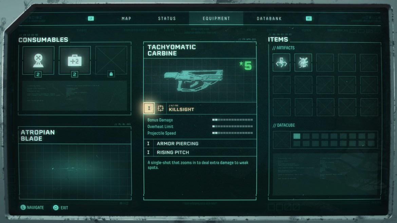 A gun information screen in Returnal