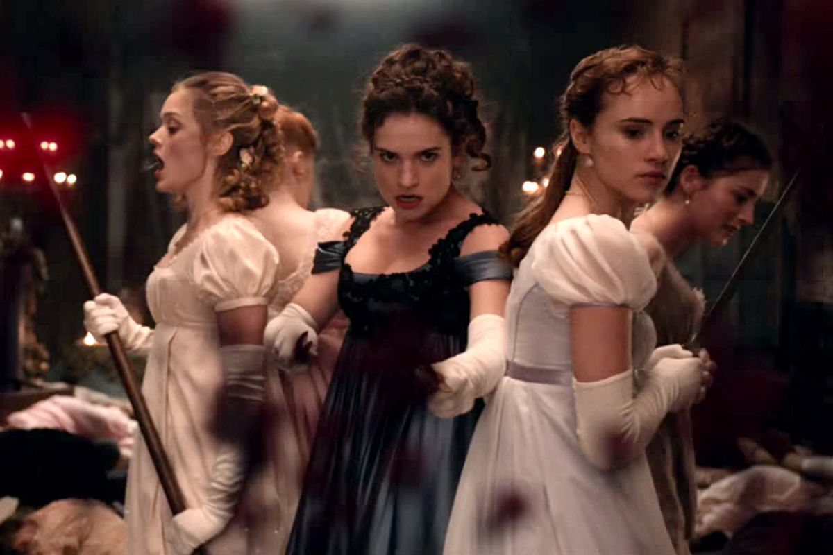 Women in gowns holding weapons