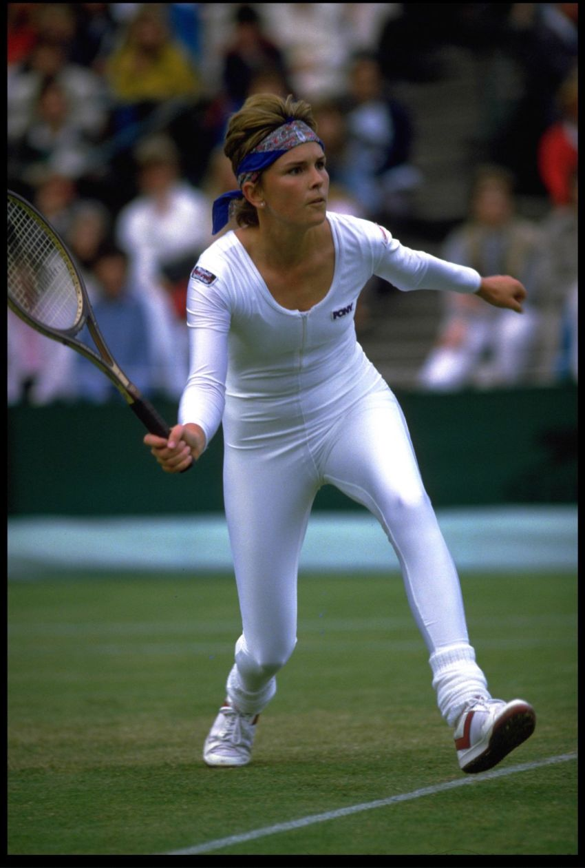 Tennis player Anne White at Wimbledon in 1985.