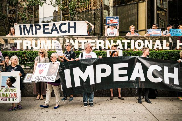 Impeachment protest in front of Trump International Hotel and Tower.