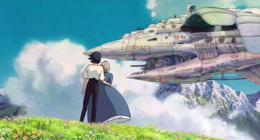 Howl's Moving Castle: Sophie and Markel see an airship