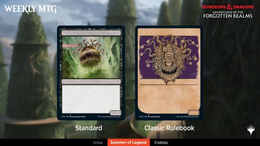 A beholder shown with a regular border, and with an alternate border evoking the tinted pages of modern 5th edition D&D books.