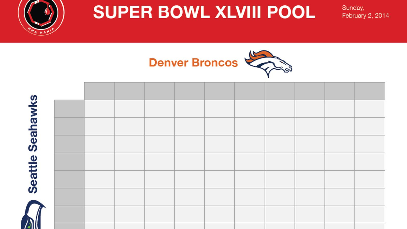 Super Bowl Squares Sheet Download Printable Broncos Vs Seahawks Betting Boxes Grid