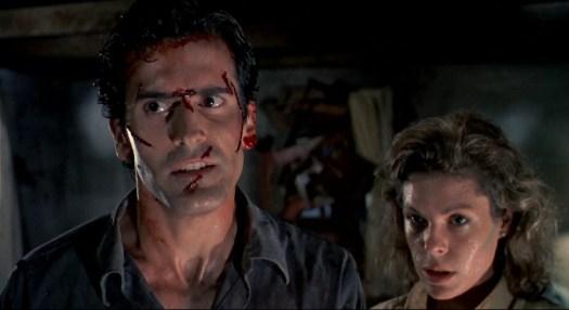 Bruce Campbell and Denise Bixler in Evil Dead 2