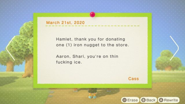 """Animal Crossing - a bulletin reads """"Hamlet, thank you for donating one iron nugget to the store. Aaron, Shuri, you're on thin fucking ice."""""""