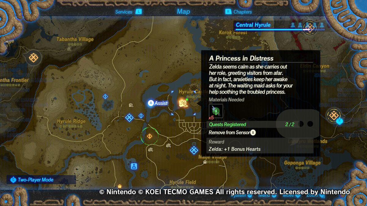 A map screen from Hyrule Warriors: Age of Calamity