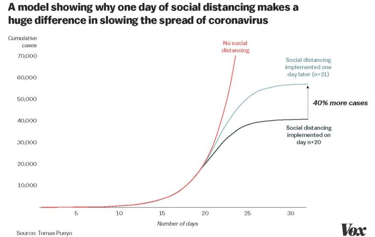 How social distancing can slow the growth of cumulative corona cases