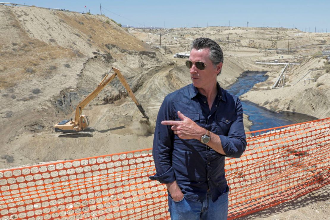 Gavin Newsom visits an oil field in California