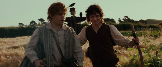With Frodo, Sam takes his first steps out of the Shire in The Fellowship of the Ring.