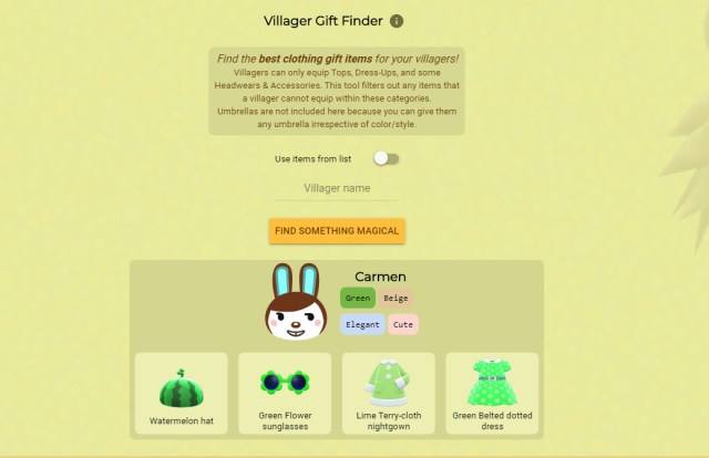 A screenshot of the Nook Plaza gift finder for Carmen, a brown and white rabbit
