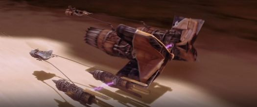 Two podracers trade paint in a narrow canyon on Tatooine.