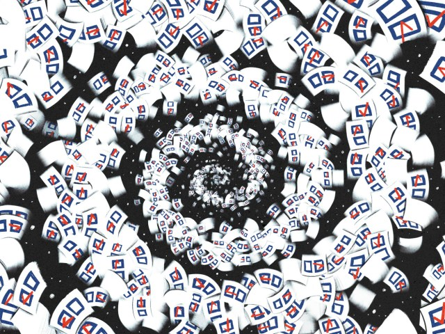 A swirl of white ballots against a black background create a hypnotic spiral.