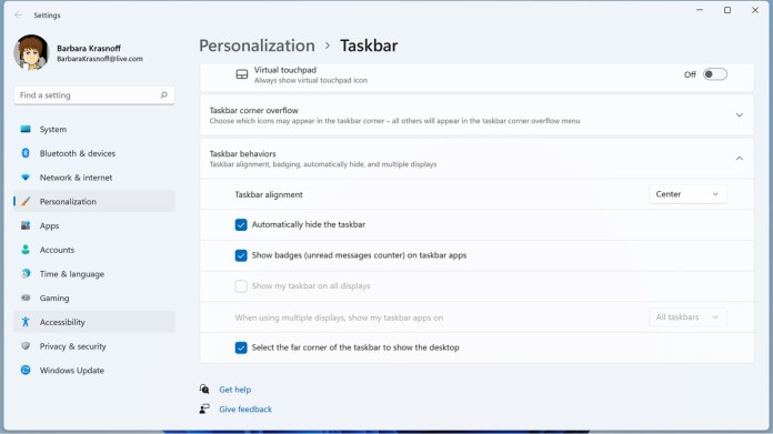 Taskbar behaviors include hiding the taskbar and showing unread messages.