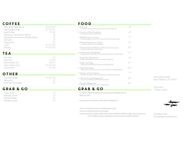 Congregation Coffee CBD cafe menu