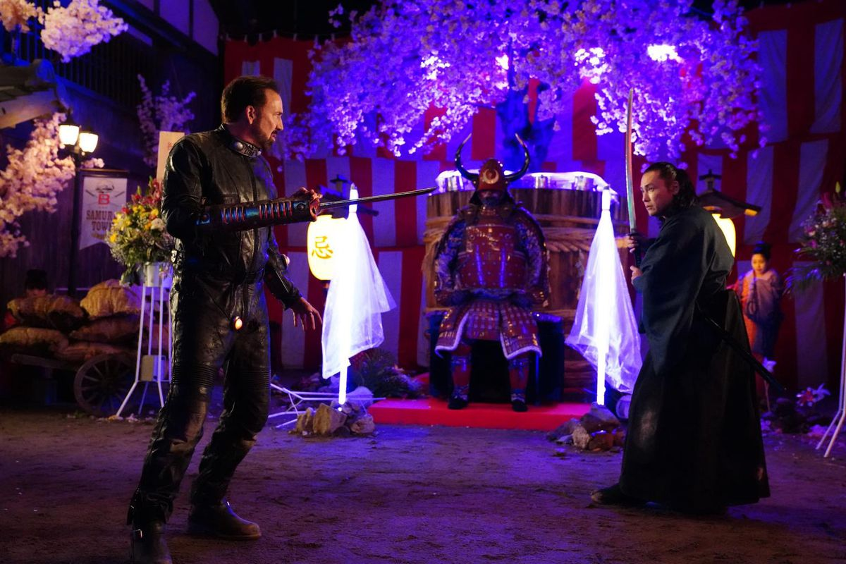 Nicolas Cage and Tak Sakaguchi face off in Prisoners of the Ghostland