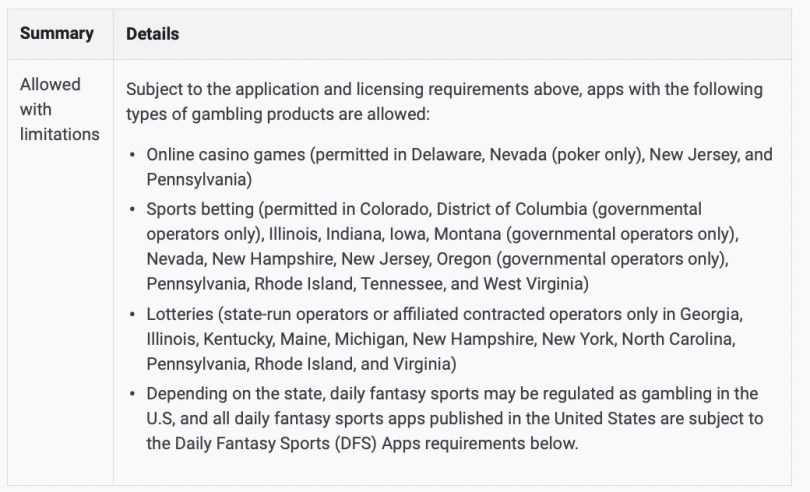 List of the allowed types of gambling products in the US, with the list of states each is allowed in