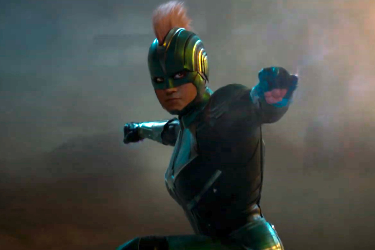 captain marvel's helmet/mohawk movie costume is the result of a bet