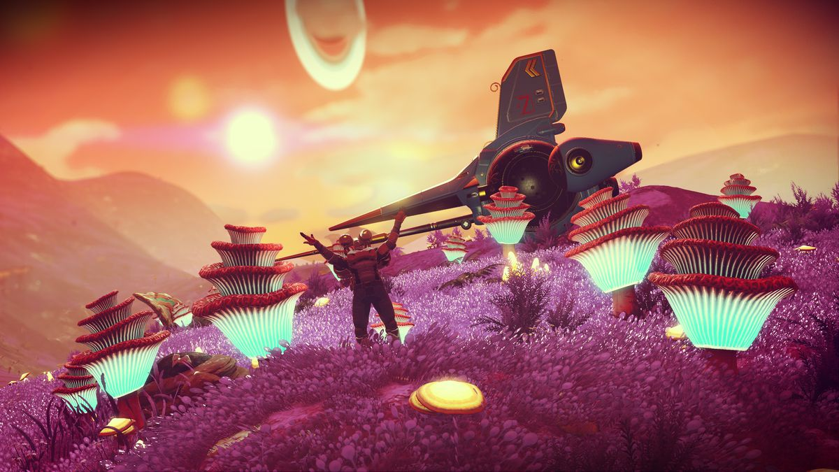 An astronaut raises its arms in a field of glowing fungus in a screenshot from No Man's Sky: Origins.