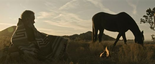 Kidd (Tom Hanks) covered in a blanket lays in a field looking at his horse as the sun sets in News of the World