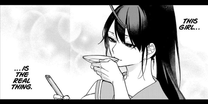 Kei Yonagi taste tests a sauce with a dreamy expression on her face in chapter 2 of Act-Age