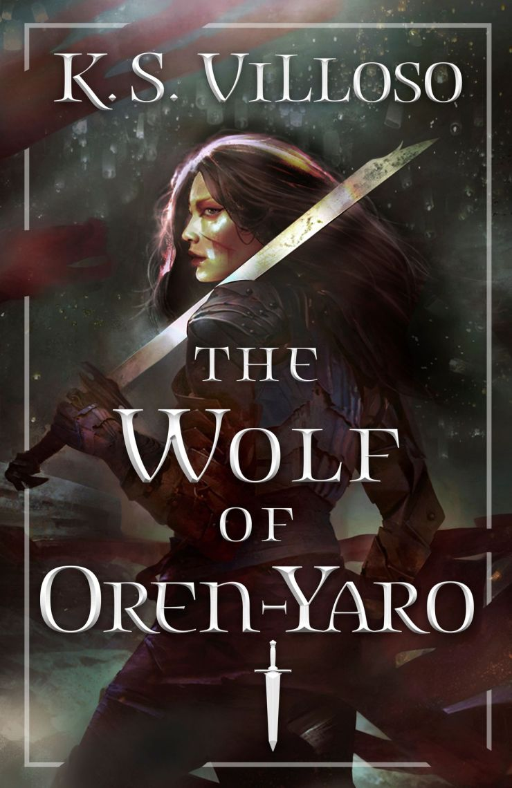 a woman fighting a sword on the cover of The Wolf of Oren-Yaro by K.S. Villoso