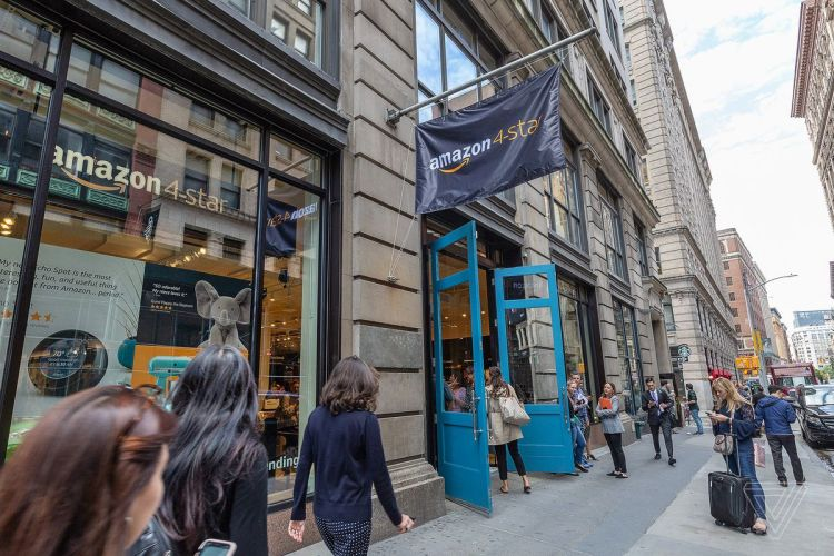 Opening day at the Amazon 4-Star brick and mortar store located in Soho in New York City. The cashless enterprise offers a variety of items that have been rated 4-stars or higher.