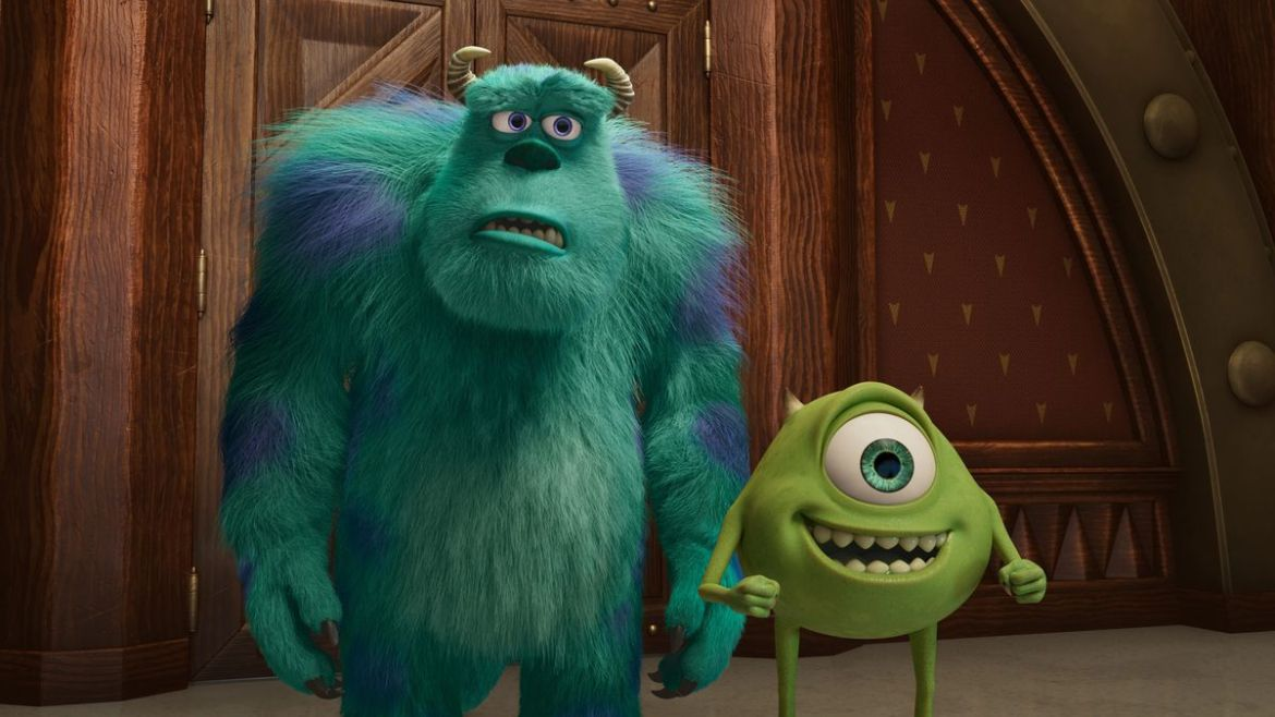 sulley looking uncomfortable and mike looking excited