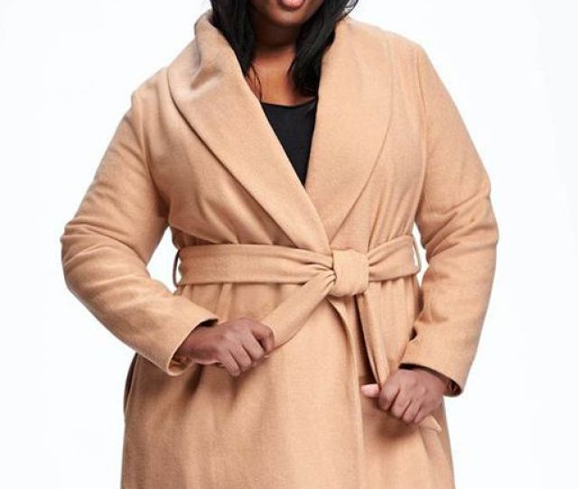 A Woman In A Camel Robe Coat Old Navy