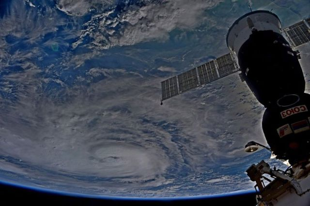 A view of the spiral cloud of Hurricane Harvey, taken from the International Space Station.