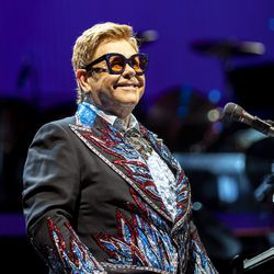 Elton John smiles out at the audience as he performs at Vivint Smart Home Arena in Salt Lake City on Wednesday, Sept. 4, 2019.