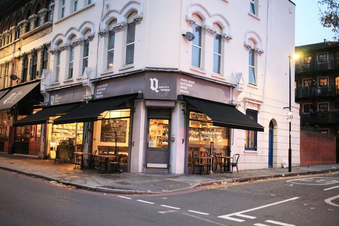 Quality wines in Clerkenwell at dusk - & nbsp;  one of London's best restaurants and wine bars by chef Nick Bramham