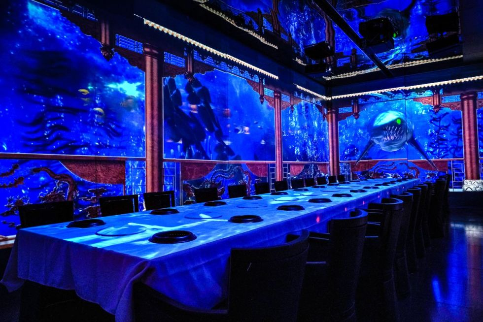 Projections on the wall make it look like the room is inside an aquarium