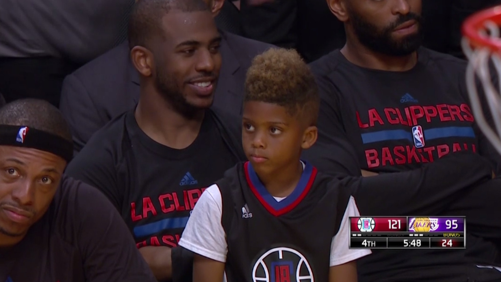 Chris Pauls Son Is Sitting On The Bench Because The Clippers Are Winning By A Zillion Points