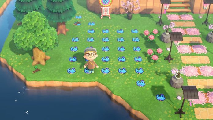 Standing on a chicken pattern in Animal Crossing: New Horizons