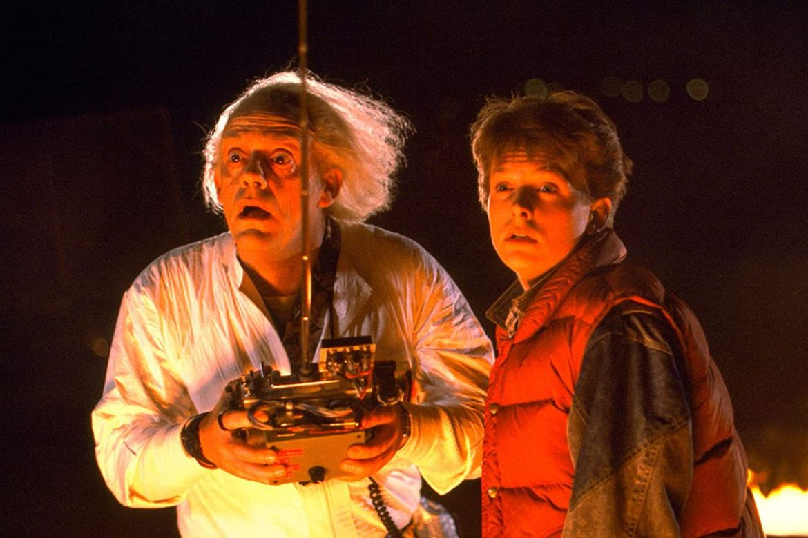 Marty (Michael J Fox) and Doc Brown (Christopher Lloyd) stare into the distance
