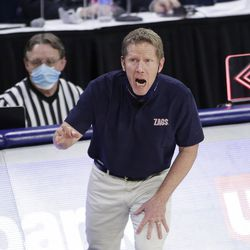 Gonzaga coach Mark Few yells at his players during the second half of an NCAA college basketball game against BYU in Spokane, Wash. On Thursday, Jan.7, 2021.