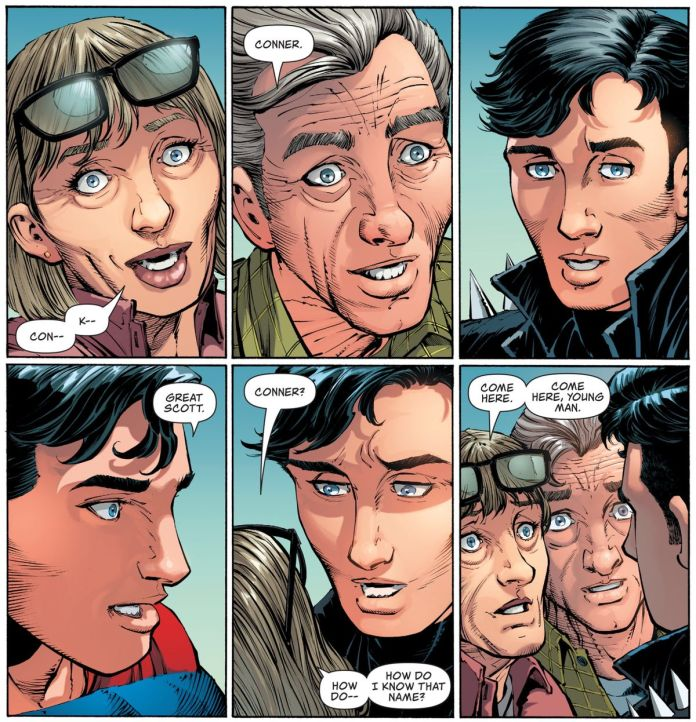 Ma and Pat Kent suddenly remember their grandson from another timeline, Conner Kent, as soon as they see him, in Action Comics #1022, DC Comics (2020).
