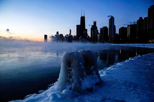 Ice forms along the shore of Lake Michigan, in Chicago, Illinois, on January 30, 2019.Kiichiro Sato/AP