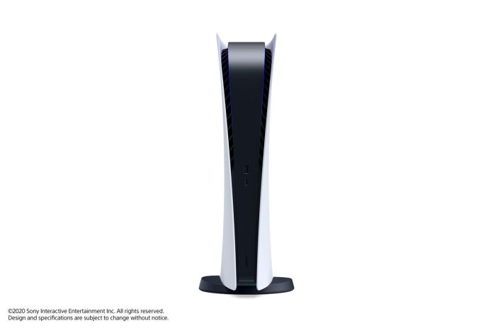 the PlayStation 5 Digital Edition standing vertically, seen from the front