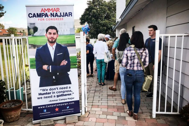 Ammar Campa-Najjar holds a meet-and-greet event with voters at a home in San Marcos, California.