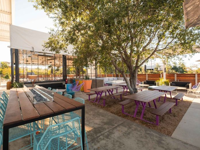 Outdoor patio at Gravity Heights brewpub
