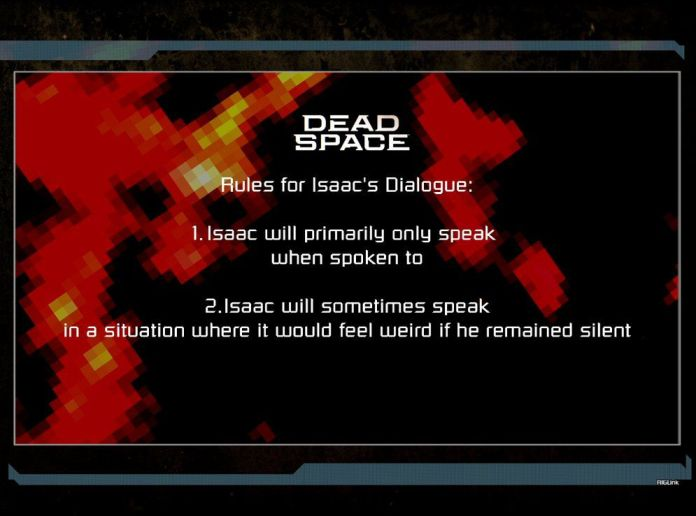 """A screenshot reading """"Rules for Isaac's dialogue. 1: Isaac will primarily only speak when spoken to. 2: Isaac will sometimes speak in a situation where it would feel weird if he remained silent."""