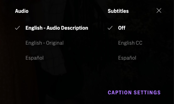"""The caption settings tab in HBO Max showing a checked option for """"English – Audio Description"""" along with options for subtitles in English and Spanish."""