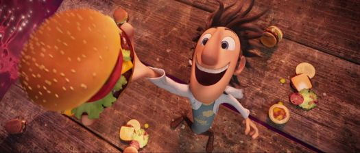 Flint grabs a hamburger out of the sky in a screencap from Cloudy with a Chance of Meatballs