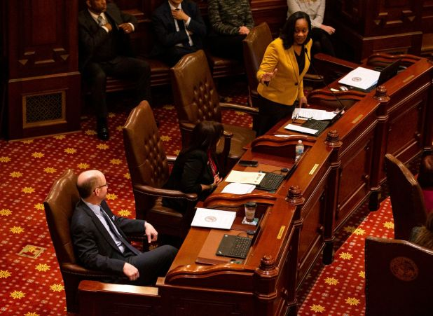 State Senate Majority Leader Kimberly Lightford, D-Maywood, nominated State Senator Don Harmon, D-Oak Park, to be the next Senate Speaker last year.