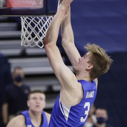 BYU forward Matt Haarms shoots during the first half of the NCAA team's college basketball game against Gonzaga in Spokane, Wash. On Thursday, Jan.7, 2021.
