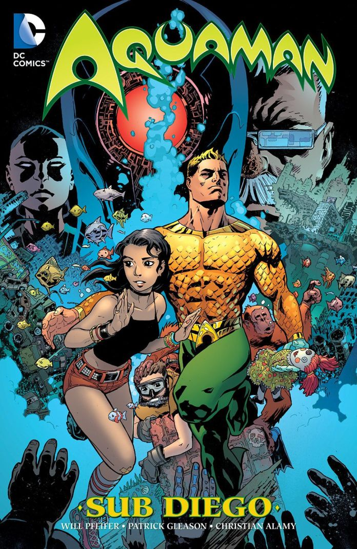 Aquaman and other characters on the cover of Aquaman: Sub Diego, DC Comics (2015).