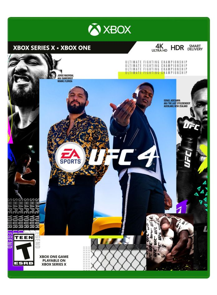 the Xbox One box art for EA Sports UFC 4, with Jorge Masvidal and Israel Adesanya