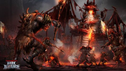 A bunch of hairy beasts wearing bone armor circle a burning pyre.
